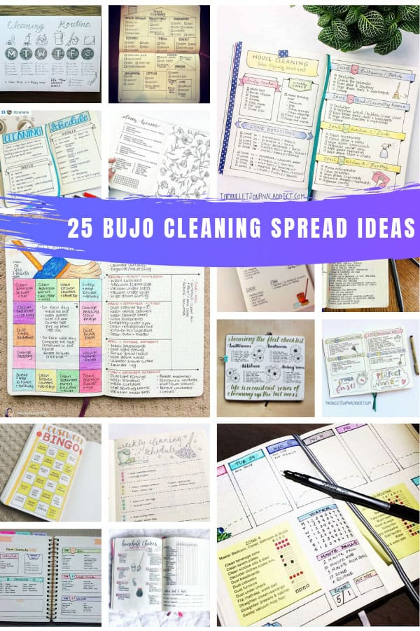 So many great BUJO cleaning spread ideas for weekly, monthly, and yearly chores! #bulletjournal #bujo #cleaning