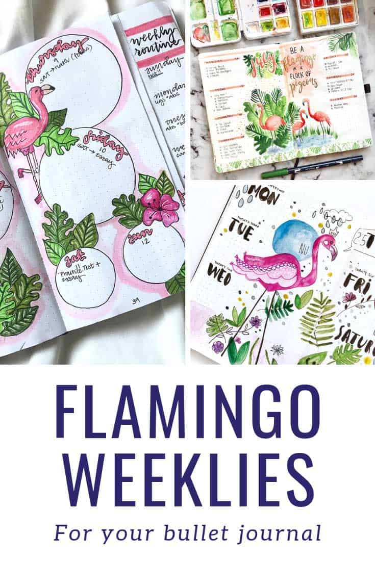 These flamingo weeklies are perfect for my bullet journal!