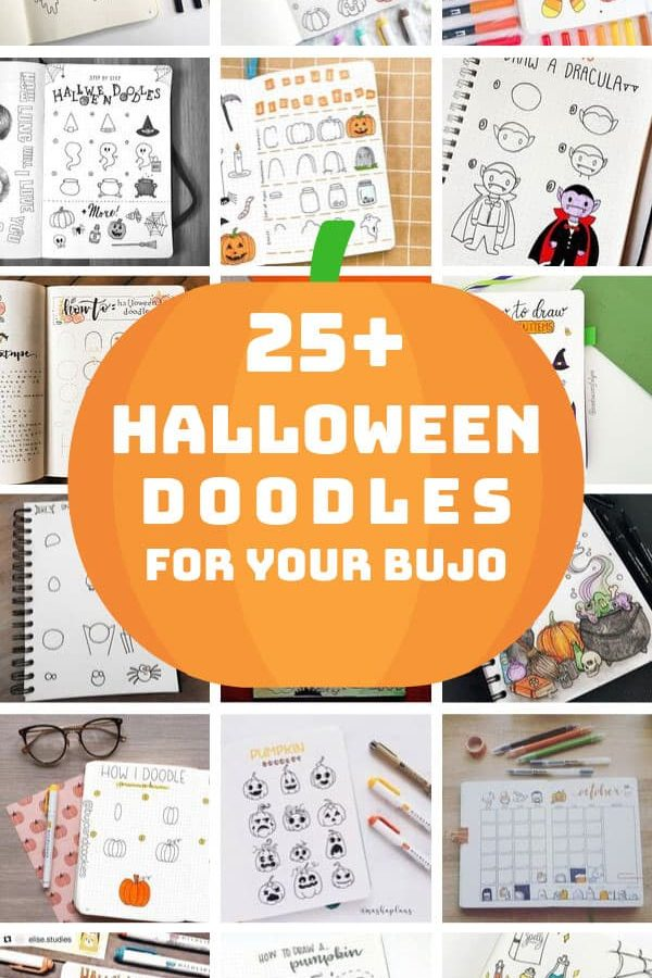 Loving these Halloween Doodles for my BUJO - and they have how to draw videos too! #halloween #bulletjournal