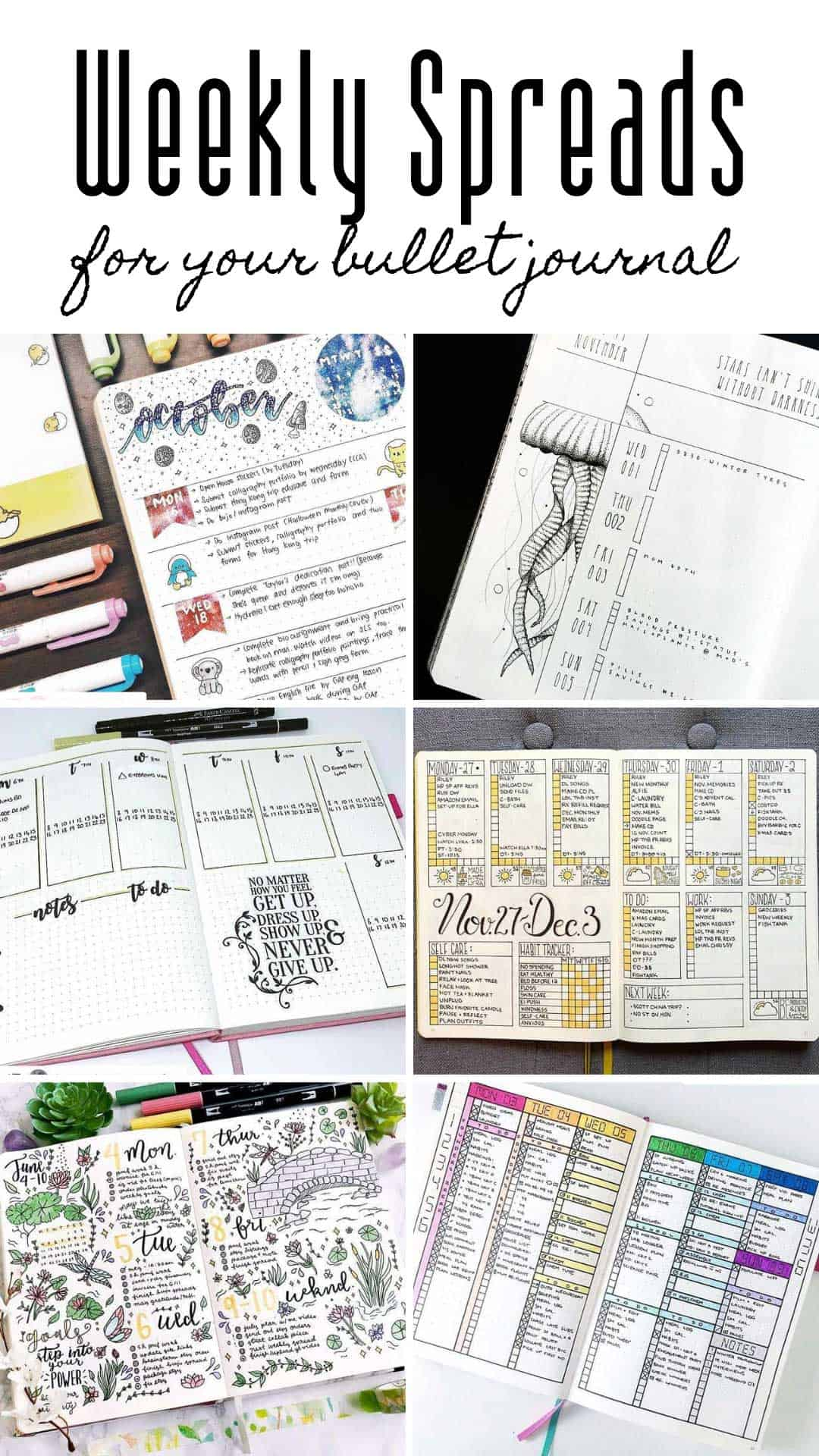 Bring your BUJO weekly spread to life with these creative ideas. Vertical and horizontal spread ideas for you to try #bulletjournal