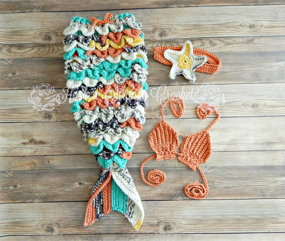Baby Mermaid Crochet Tail Set for Sale
