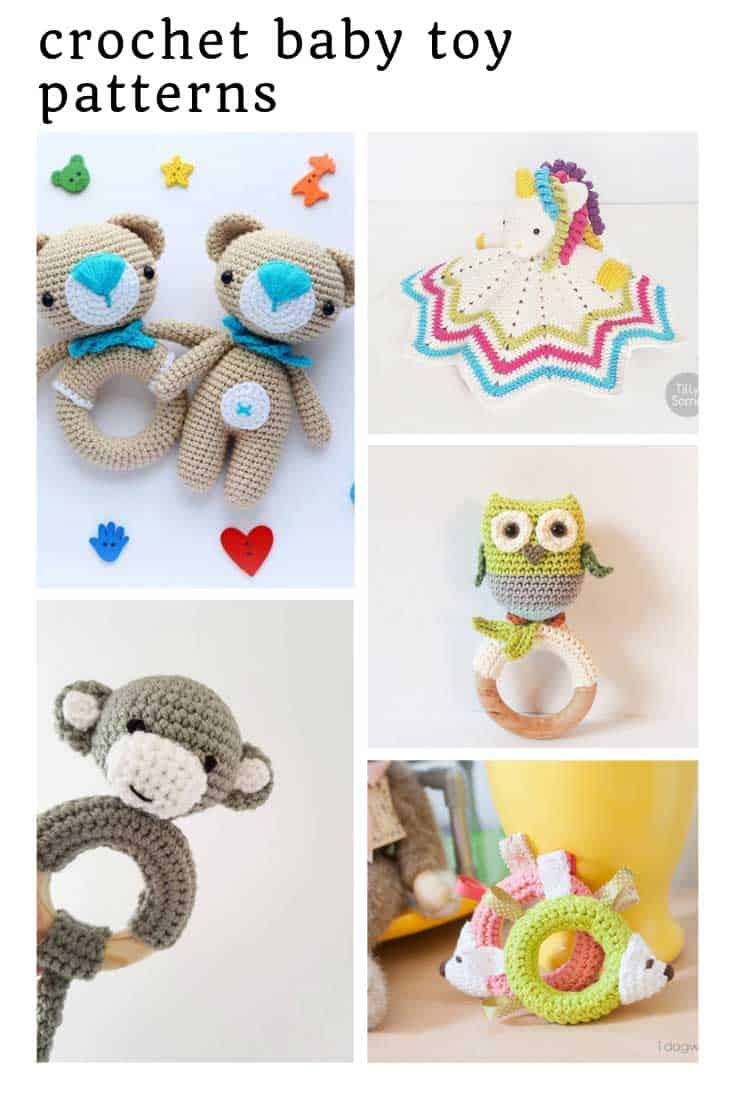 So many cute crochet baby toys in this collection!