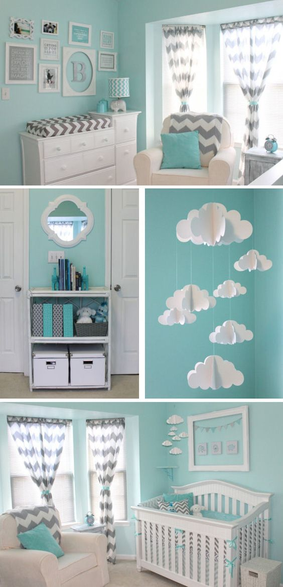 Aqua and grey chevron nursery