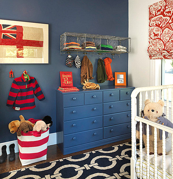 Make use of wall hooks and wire cubbies for storing clothes or even diapers.