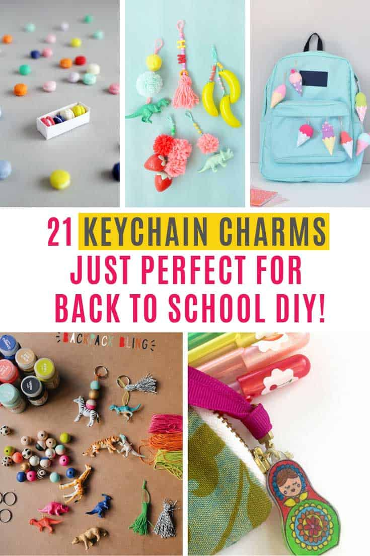 These keychain charms are a great summer project to do with your kids to, so that they can put them on their backpack zippers when they go back to school. They might even want to craft some for their friends or as a teacher gift.