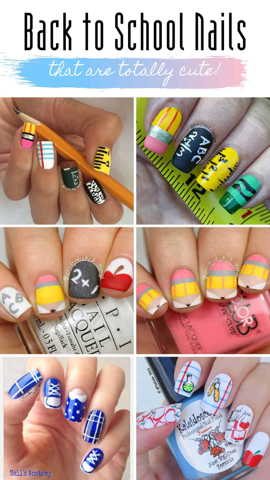 These back to school nails will make you want to hit the books! #backtoschool #nailart