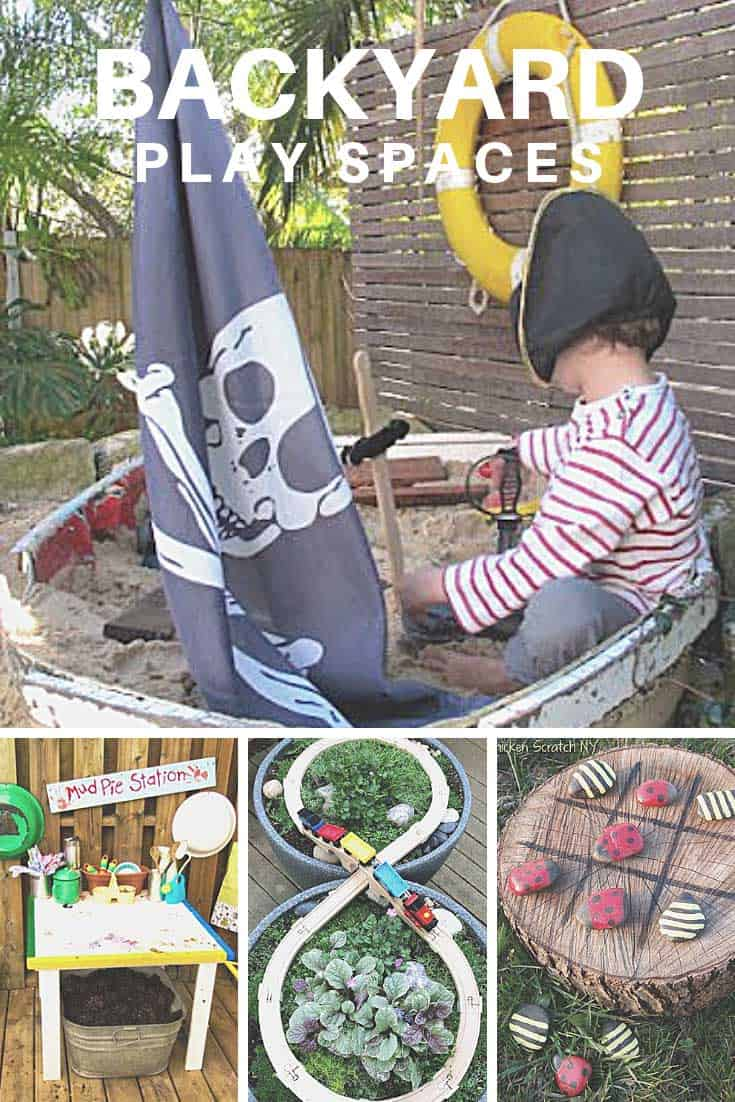 Your kids will go crazy over these backyard play spaces! From sand pits and climbing walls to swing sets and train sets you'll never hear I'm bored again!