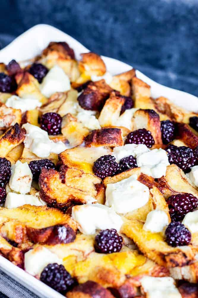 Baked Cinnamon French Toast with Blackberries