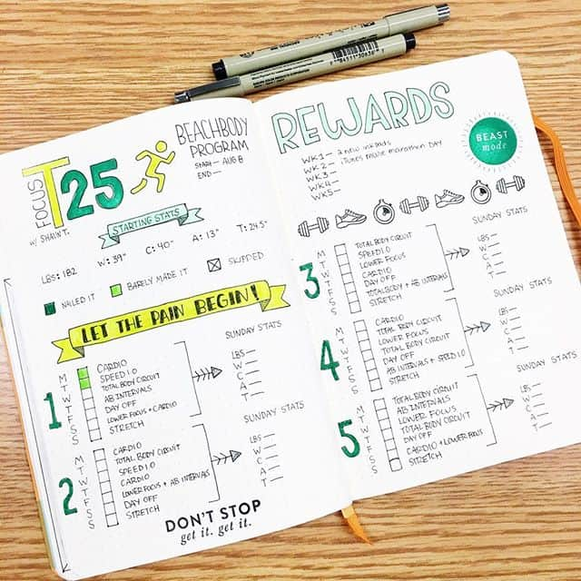 Bullet Journal Beachbody T25 Tracker
