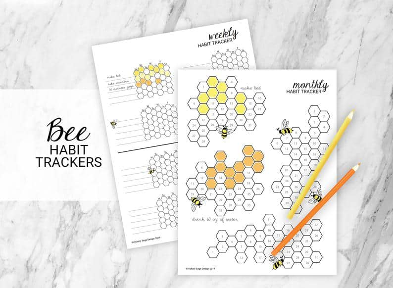 Bumble Bee Habit Tracker Printables