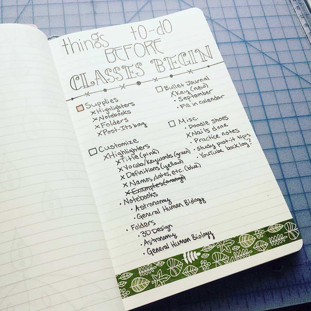 Before Class Bullet Journal Checklist