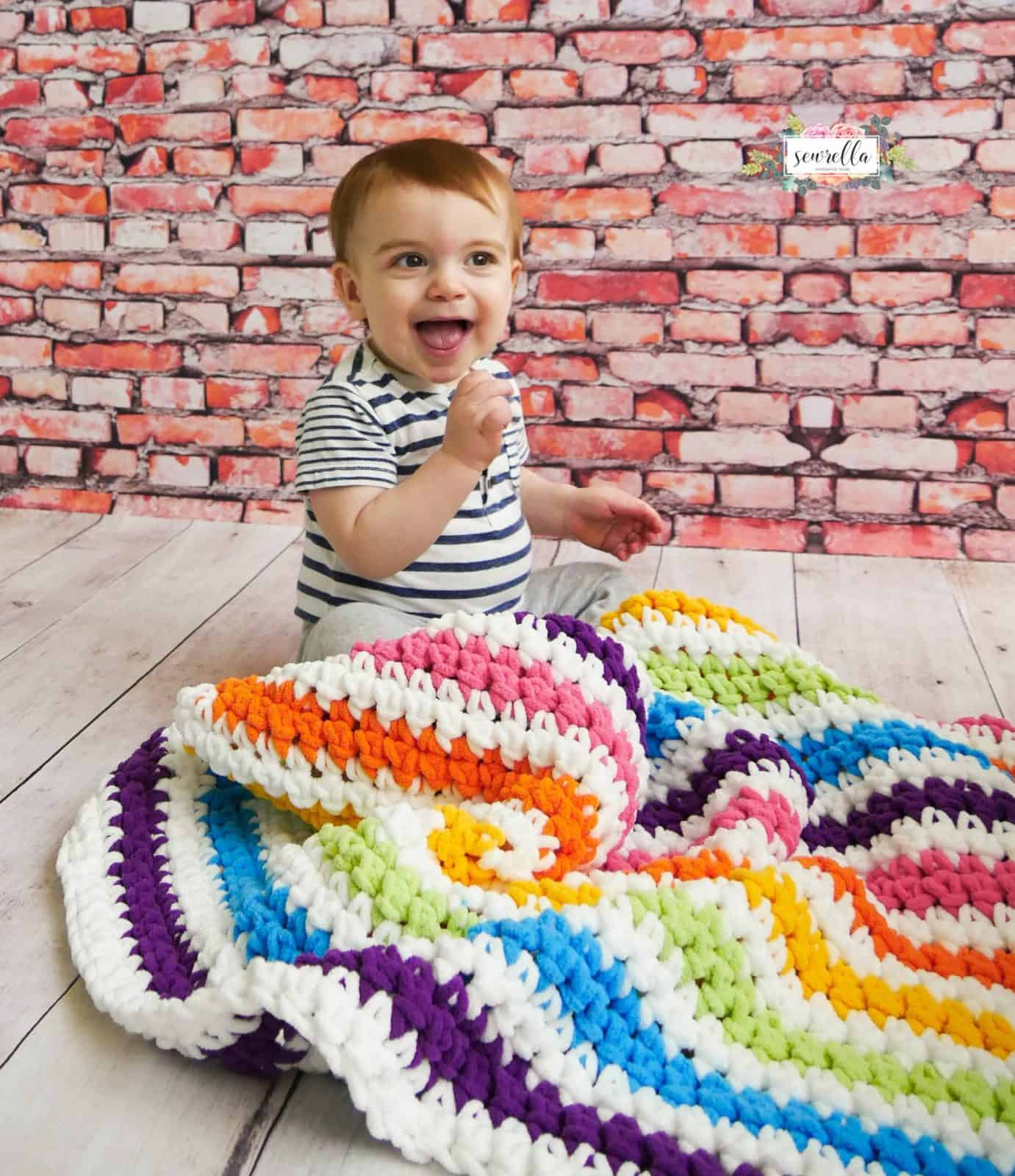 Beginner Stripe Rainbow Baby Blanket Crochet Pattern