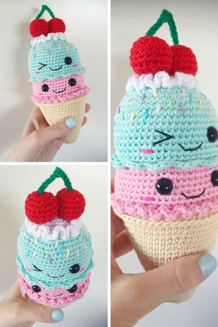 Big ICE CREAM cone - PDF Pattern, amigurumi, crochet