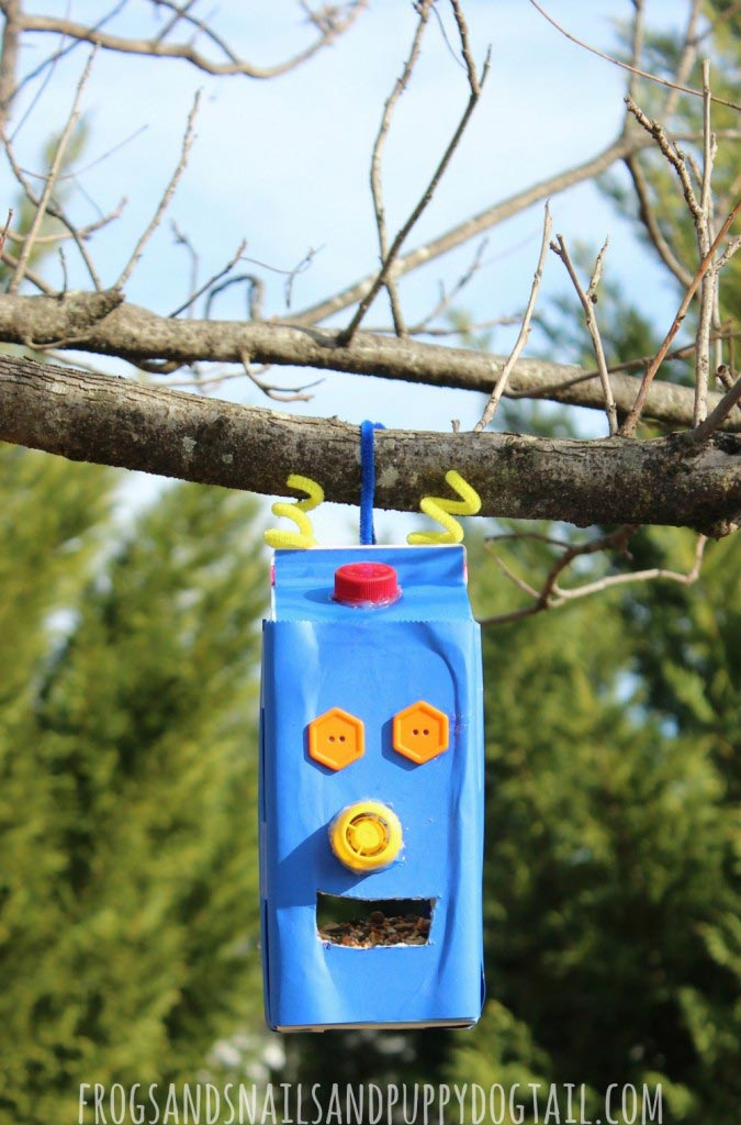 Robot Juice Carton Bird Feeder