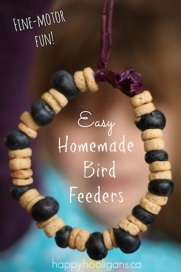 Bird Feeders with Cheerios and Blueberries