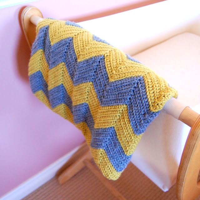 Blue Yellow Chevron Baby Blanket Crochet Pattern