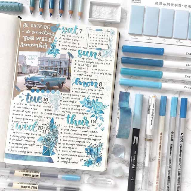 Blue daily log bullet journal