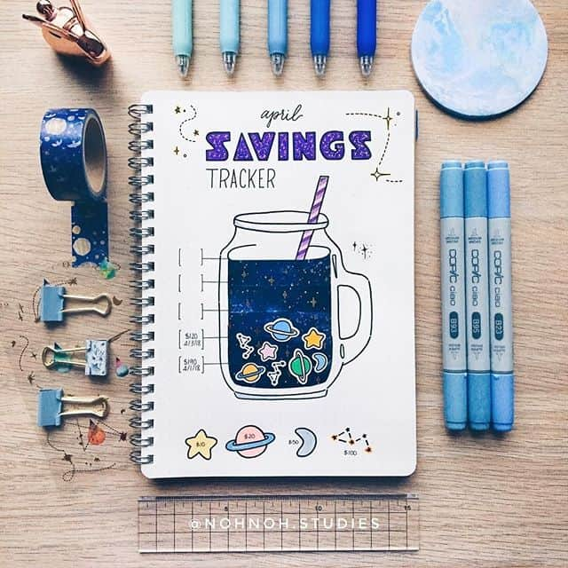 Blue savings tracker spread