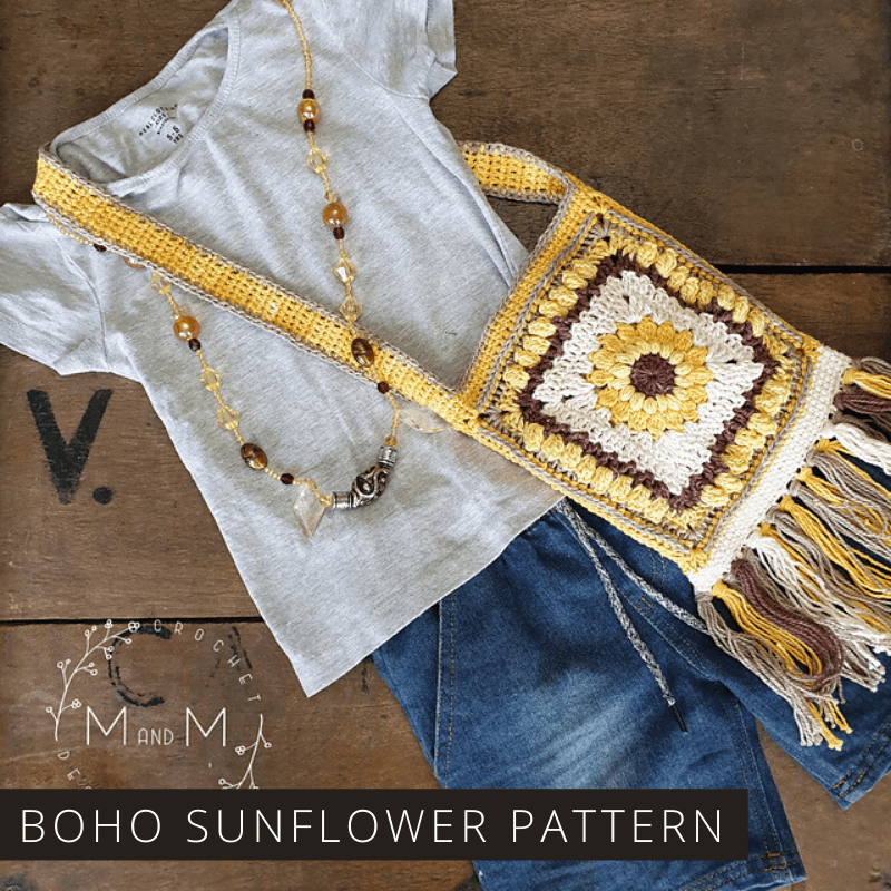Your little girl will is sure to love this crochet boho sunflower bag. The pattern is easy to follow and can be worked up in just a few hours!