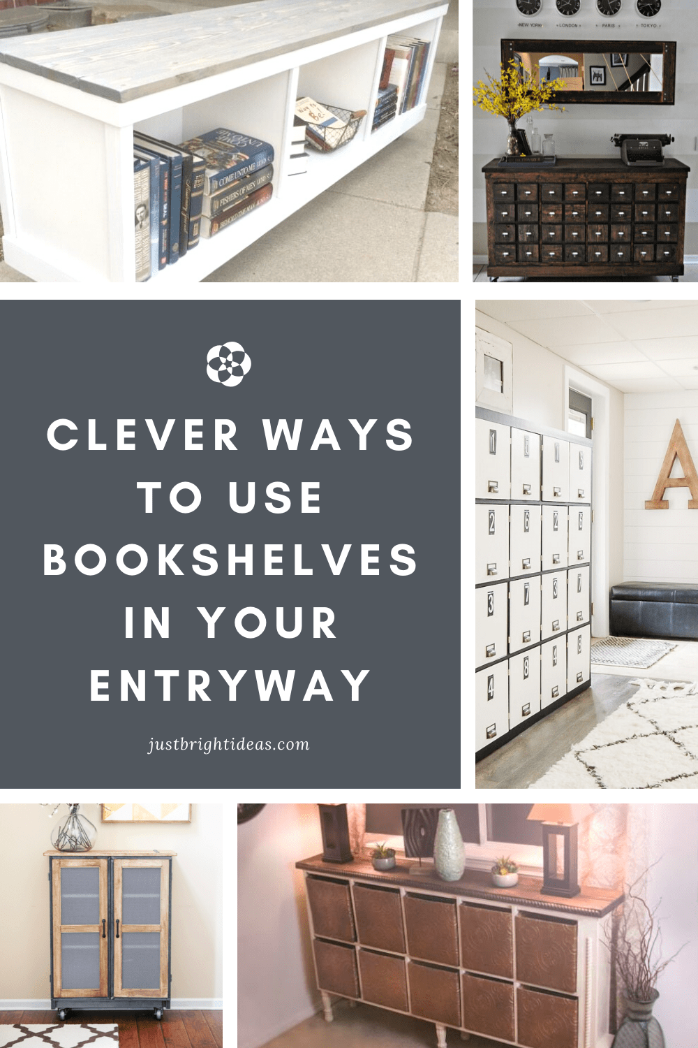 These repurposed bookshelf projects into entryway storage are totally genius