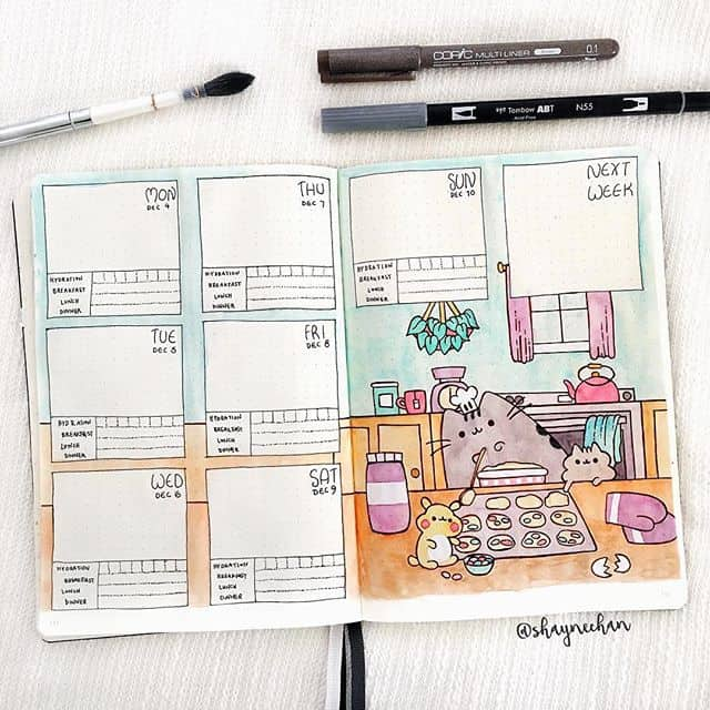 Bring your Bullet Journal weekly spread to life with an illustration