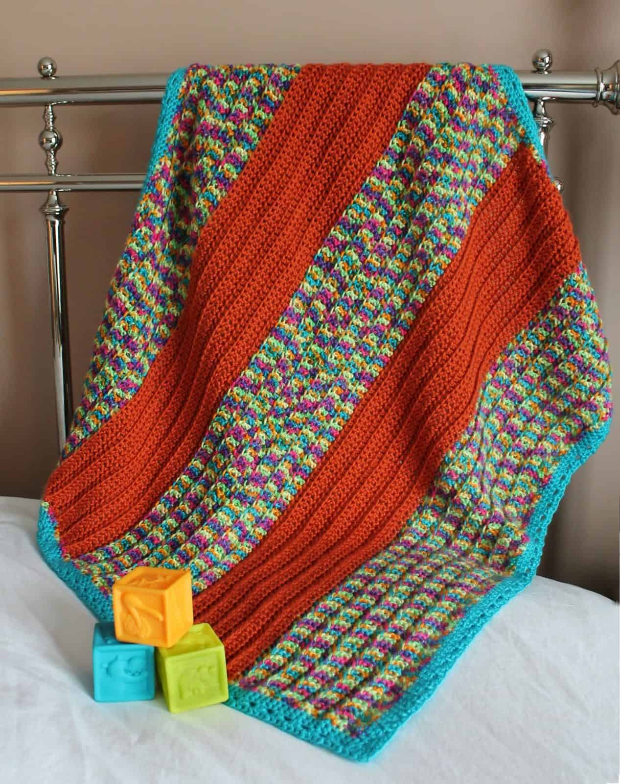 Broad Stripe Baby Blanket Crochet Pattern