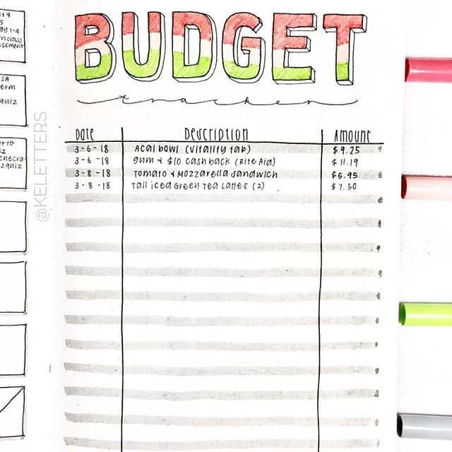 Budget Tracker for Bullet Journal