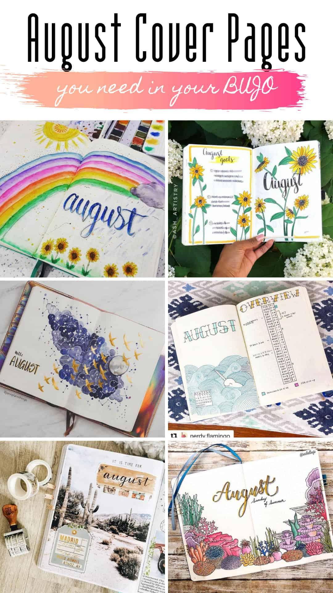 These bullet journal August cover pages are so cute and inspiring!