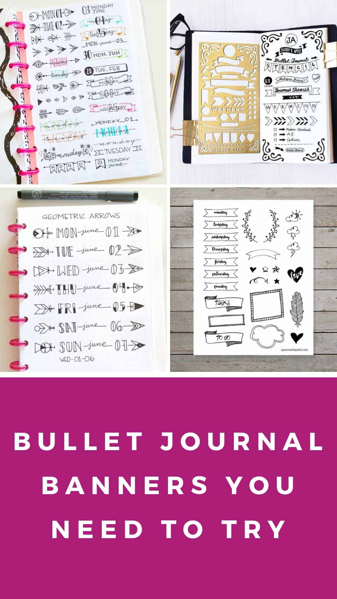 Need a bullet journal banner? Check out these creative ideas and doodles as well as a sneaky trick to print them out if you don't like drawing!