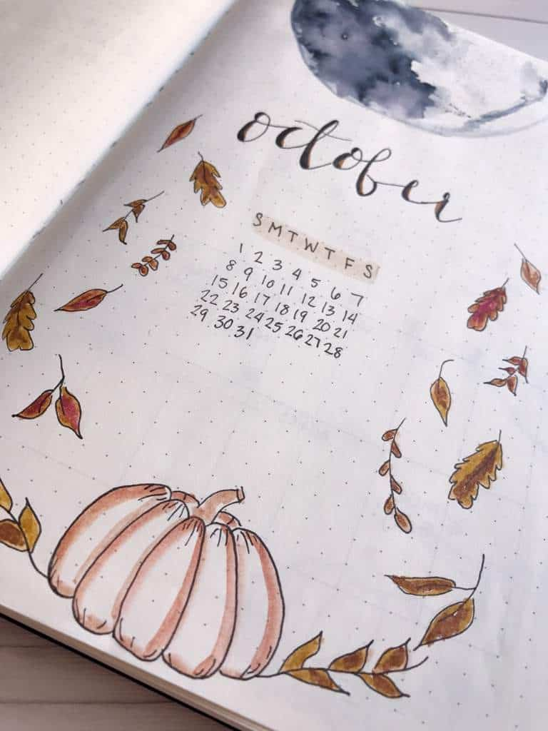 Bullet Journal Calendar Cover Page Full Moon
