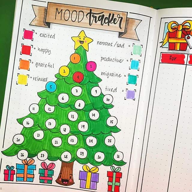 Bullet Journal Christmas Tree Mood Tracker
