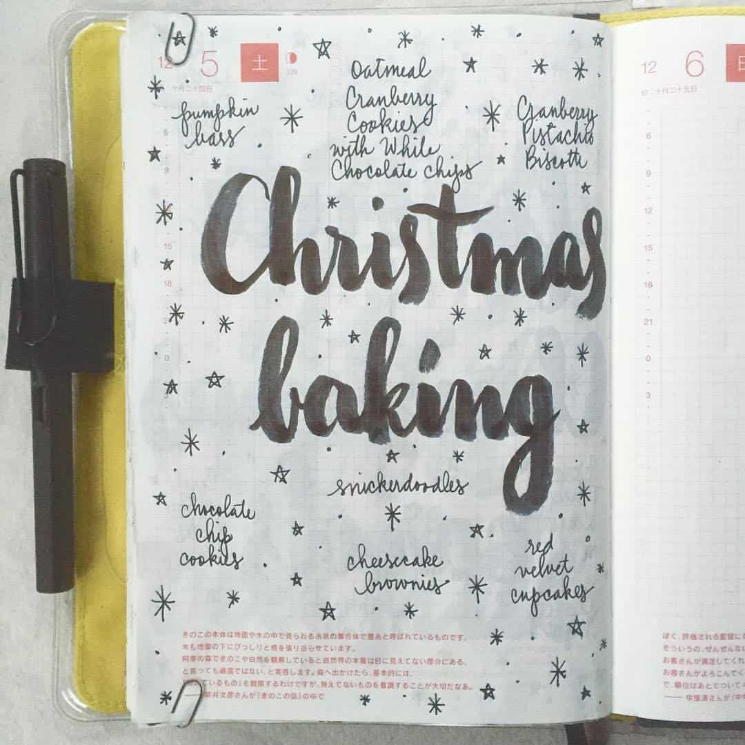 Bullet Journal Christmas baking plans