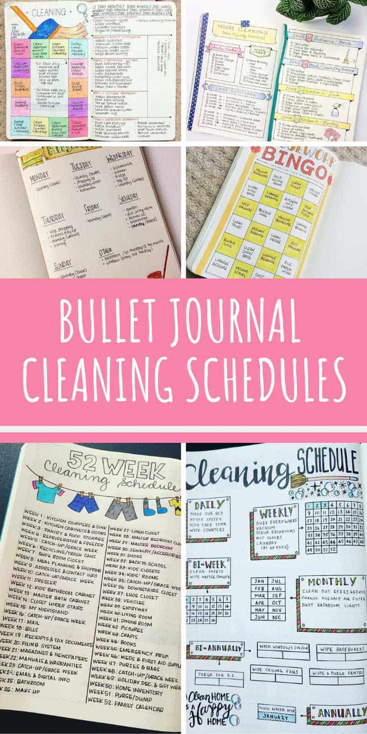 bullet journal cleaning schedules to turn you into a domestic goddess