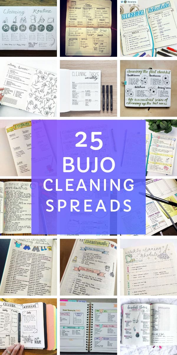 These bullet journal cleaning spread ideas are just what you need to stay on top of your chores! Includes ideas for FlyLady and KonMarie spreads #bulletjournal