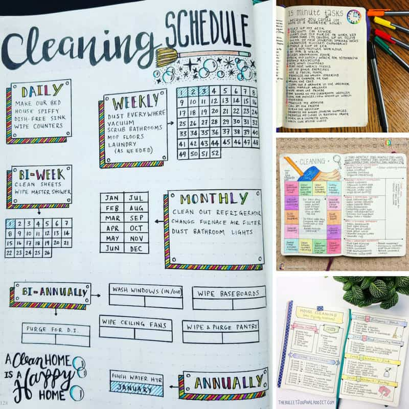 Bullet Journal Cleaning Spreads