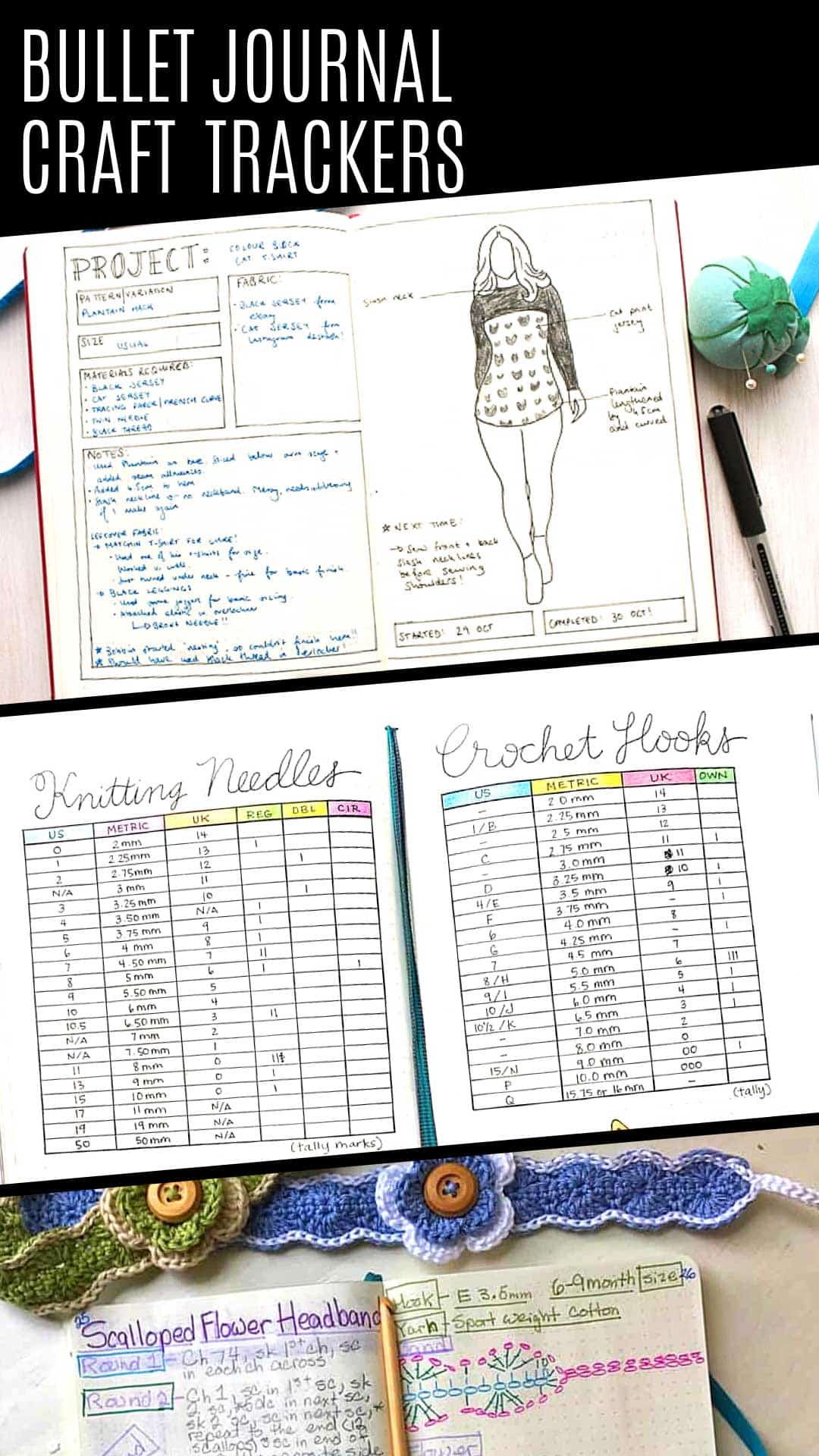 These bullet journal craft projects trackers and spreads are just what you need to create a craft journal #bulletjournal