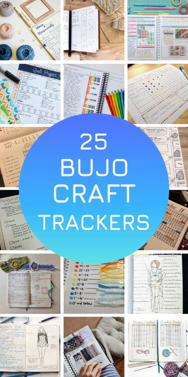 These bullet journal craft tracker ideas will help you stay on top of your knitting, crochet, sewing or quilting projects #bulletjournal #trackers #crafts
