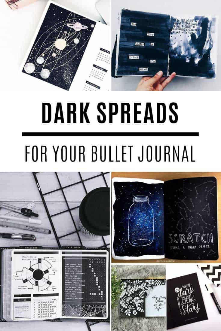 Amazing dark spreads for your bullet journal
