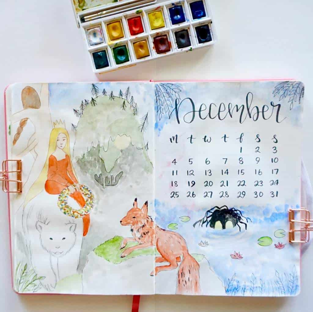 Bullet Journal December Cover Page Folktale