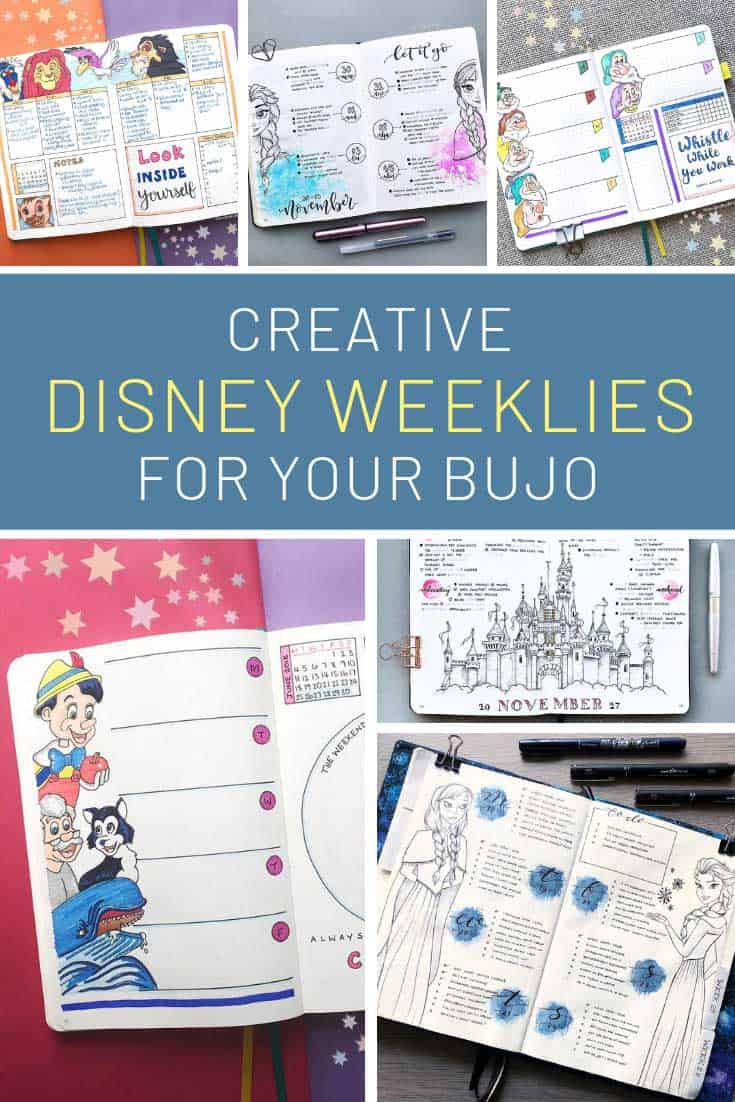 How CUTE are these bullet journal Disney weeklies!