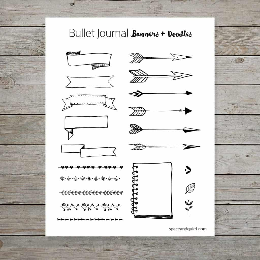 Bullet Journal Doodle Banner Printable