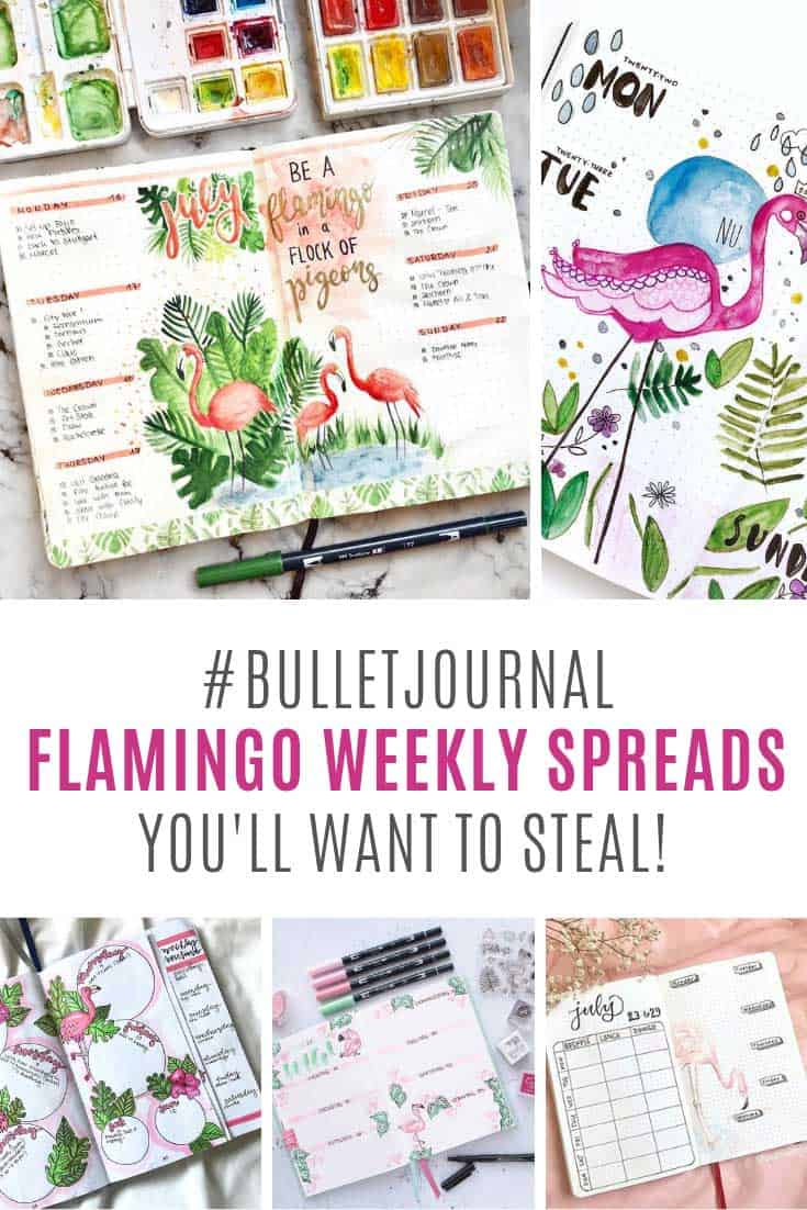11 Fabulous Flamingo Weekly Spread Ideas for Your Bullet Journal