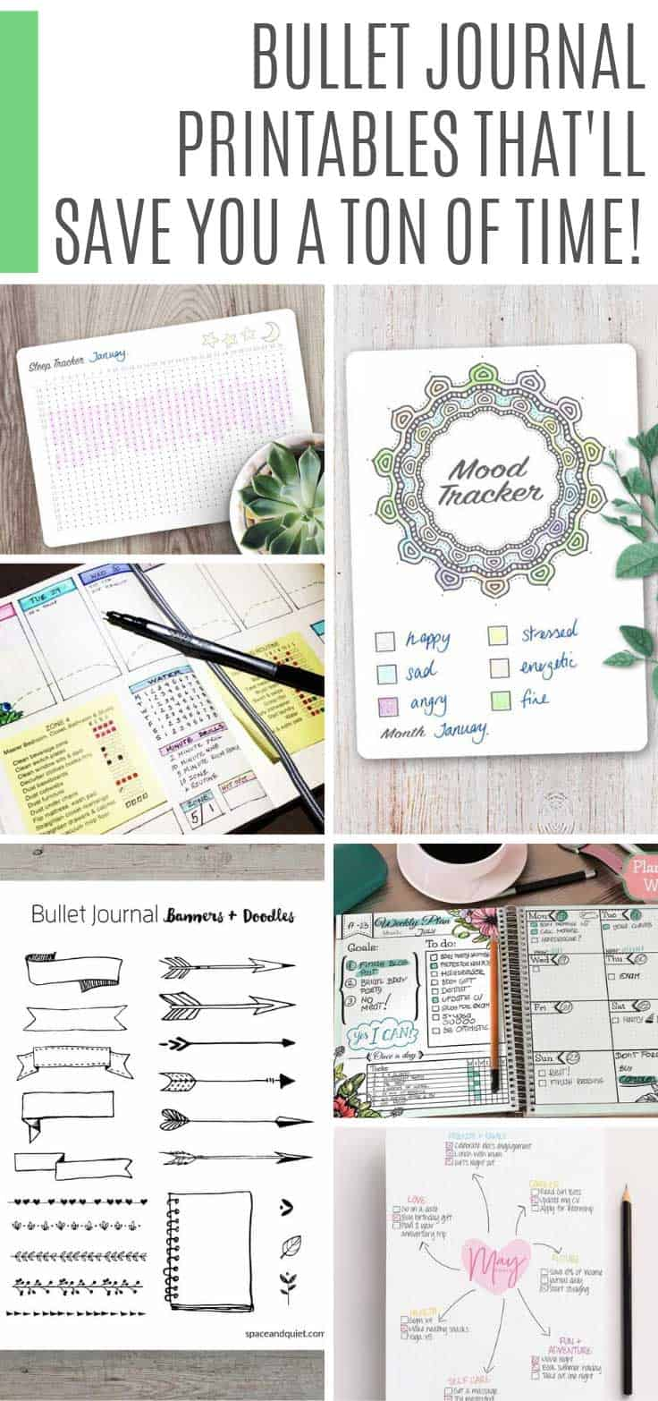Save time by printing out these bullet journal free printables to use in your BUJO or planner #bulletjournal