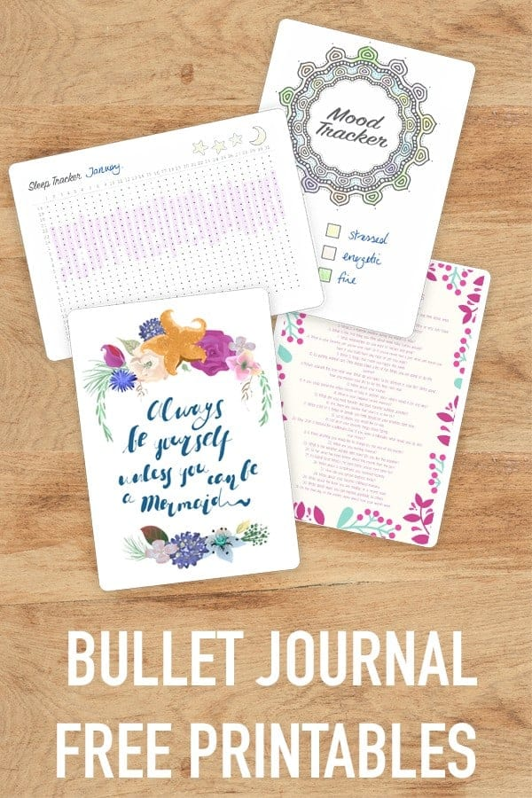 Download your bullet journal free printables today. Cover pages, mood trackers, sleep trackers and journalling prompts for your BUJO.