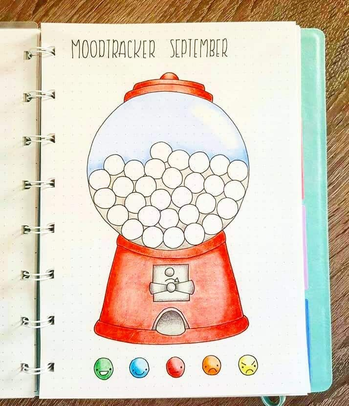 Bullet Journal Gumball Machine Mood Tracker