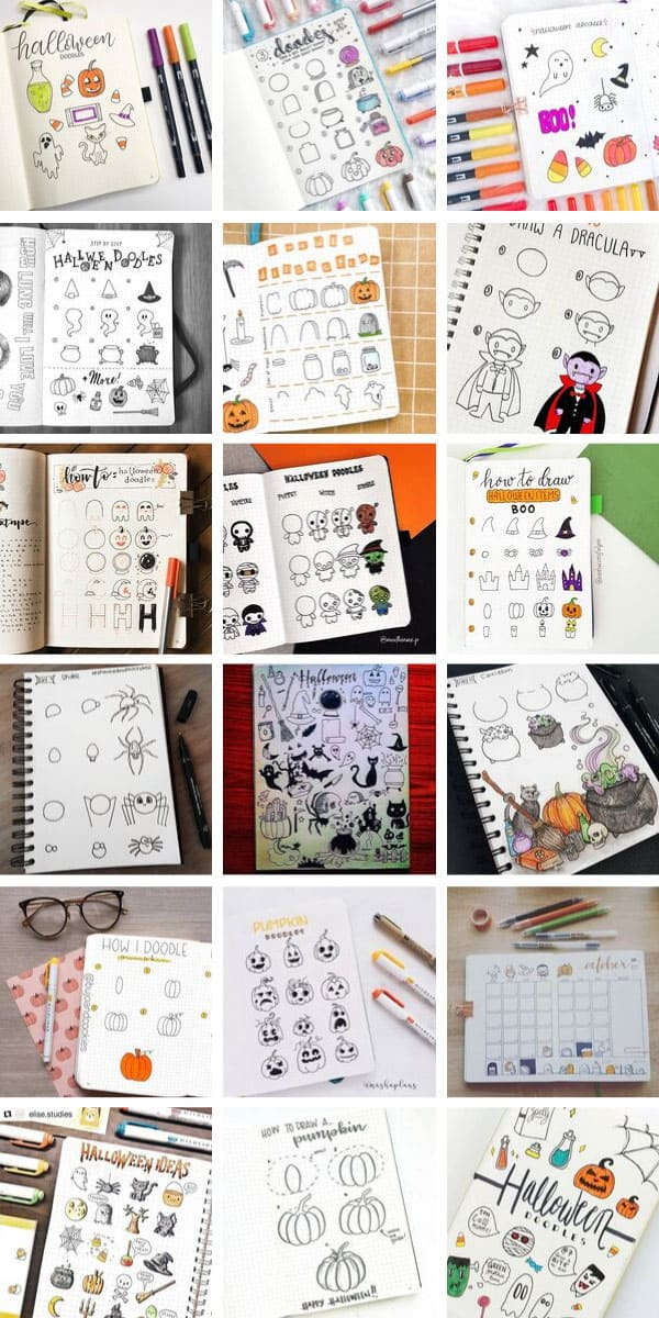 Loving these bullet journal Halloween doodles they're so cute and easy to draw too! #bulletjournal #halloween