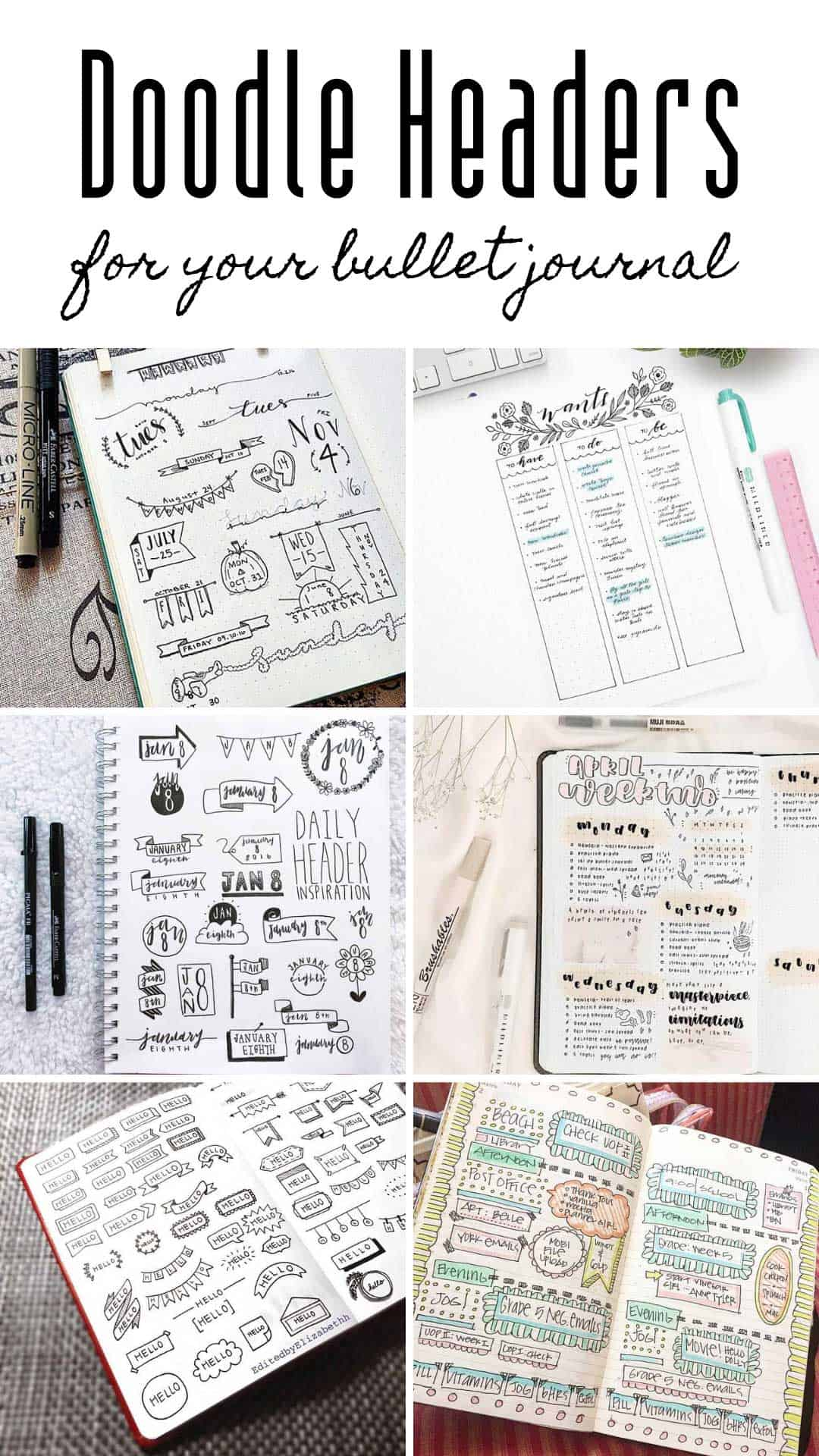 Check out these bullet journal header ideas to bring your weekly spreads and collections to life! #bulletjournal