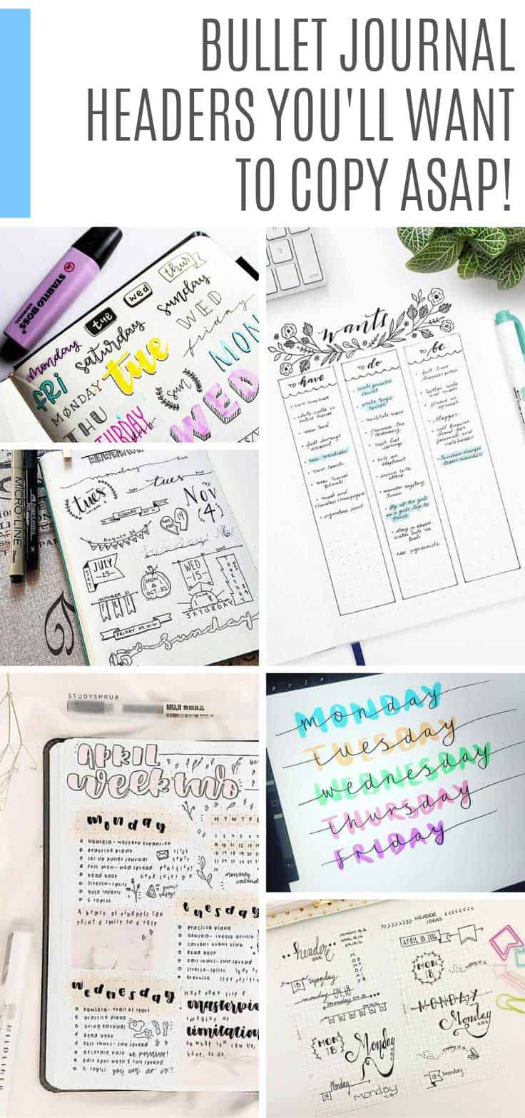 These bullet journal headers are super creative and easy for you to copy into your own BUJO to bring your weekly spreads and collections to life!