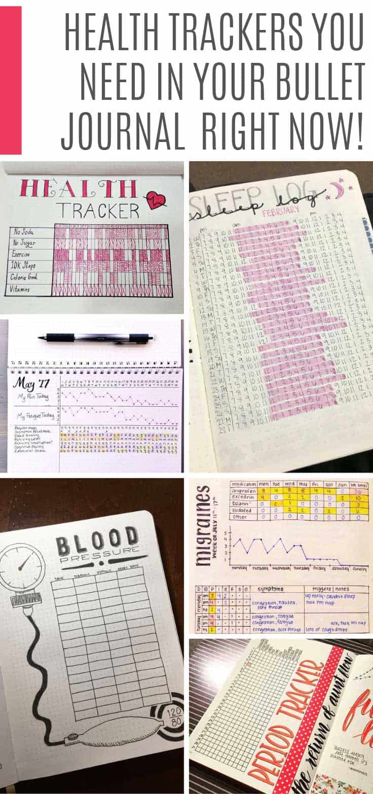 These bullet journal health trackers cover everything from pain levels to migraines, sleep and doctor appointments. #bulletjournal