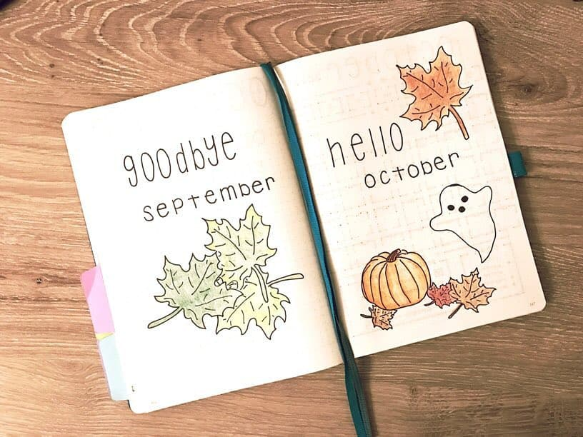 Bullet Journal Hello October Cover Page Ghost